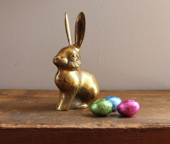Petite Vintage Brass Bunny Rabbit