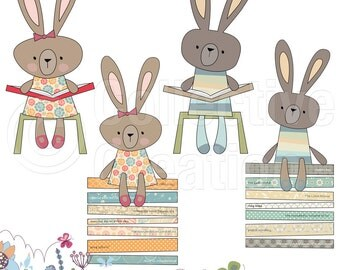 I Love to Read - Little Rabbits - Digital Clip Art Set - Personal and Commercial Use