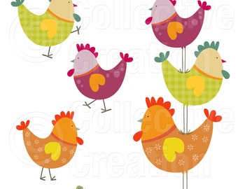 Rooster Stack Digital Clip Art Set - Personal and Commercial Use