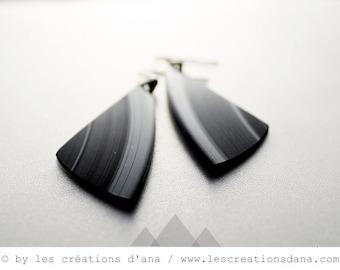 black earrings minimalist earrings modern jewelry long earrings lightweight earrings eco-friendly earrings vinyl record dangle earrings