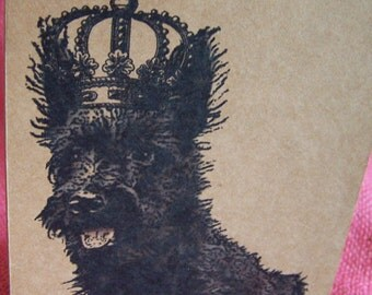 """Scottish Terrier Scottie Dog With Crown Set of ANY 3 Greeting Note Cards Invitations Kraft Cardstock matching envelopes 5 x 7"""""""