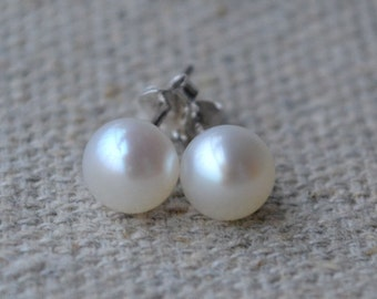 Pearl Earring-AAA 7-7.5mm White Freshwater Pearl Earrings  Stud 925 Silver post pearl earrings, real pearl ear rings, bridal earrings