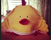 Handmade tea cozy chicken crochet chick kitch kitsch kitchen yellow