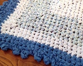 Handmade Rag Rug Crocheted Baby Boy Blue Square