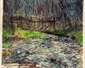 """Missouri Landscape. Watercolor Painting. 10"""" x 14"""""""