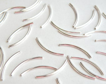 25 Curved tubes spacer bars silver plated brass 20x1mm 2754MB