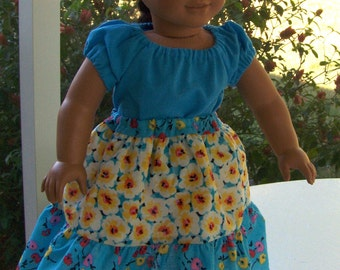 Flower Print Skirt , Aqua Peasant Blouse , and Panty,  Fresh and Cool fits American Girl and similar 18 inch dolls