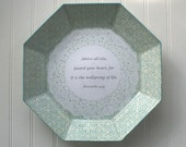 Turquoise and Cream Proverbs 4:23  Reverse Decoupage Plate EA108638-56