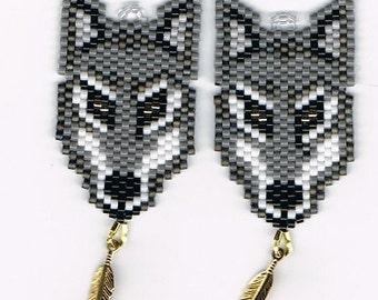 Hand Beaded  Gray Wolf with gold plated feather earrings