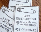 tags, care instruction, handmade item, handmade seller tag, ecru with brown, set of 12