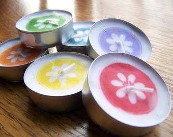 tea lights, candles - hand stamped tealights - flowers, rainbow colors, set of 6