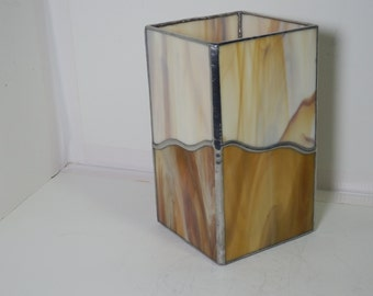 Stained Glass Lantern- Amber (Candle or Power)