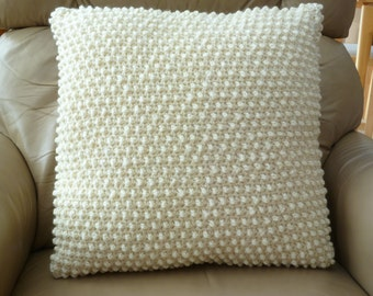 20 x 20 inch crocheted,  textured, natural fisherman's wool pillow cover