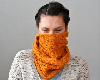 "Crochet Long Round Infinity Scarf ""Amber"" - PDF PATTERN"