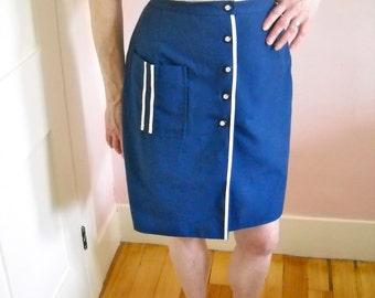 Blue Twill Culottes Skort Skirt Early 1970's Vintage Summer Dress Skirt Event VDS43
