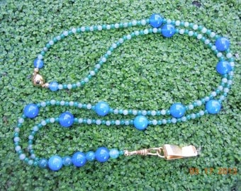 Blue and Green Agate and Aventurine Gemstone Beaded Key or ID Lanyard & Earrings with Gold-Plated Magnetic Clasp