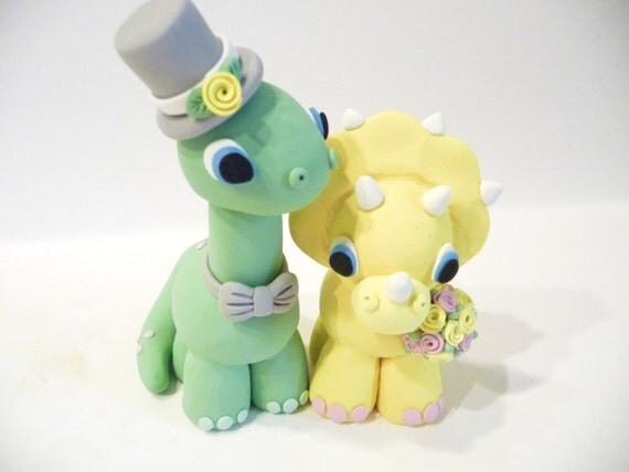 Dinosaur Cake Decorations Toppers : Dinosaur Wedding Cake Topper Choose Your Colors by ...