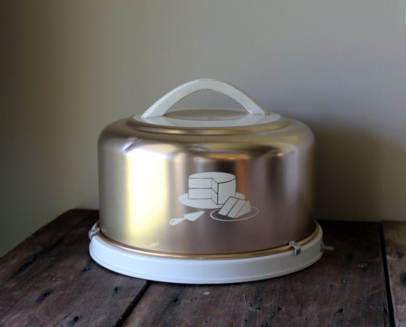 Copper Cake Carrier Cover Mirro Vintage White Metal Retro Kitchen Decor Round Aluminum Taker Locking Lid 1950s Kitchen Decor