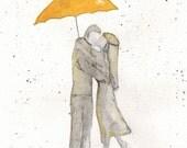 Romance in the Rain Archival Watercolor Print