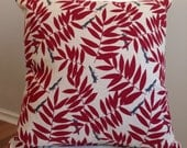 Red Cushion cover with fox and leaf print