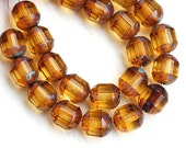 Picasso beads, Amber Topaz czech glass beads, round cut, fire polished, faceted - 8mm - 15Pc - 0452