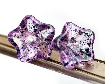 Purple Trumpet flower, Czech glass flowers, Amethyst and black - 8x13mm - 12Pc - 0554