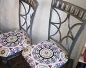"Reserved for Jill Set of 4 dark steel finish metal dining room chairs with Waverly fabric ""Solar Flare"" covered seats"