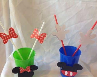 Mickey and Minnie Mouse Birthday Party Drinking Straws 10 count