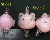 Handmade Pink Pig Lampwork Glass Bead/Pendant/Charm L01022