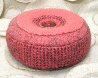 Pincushion -- Coral Felted Wool - Vintage Button