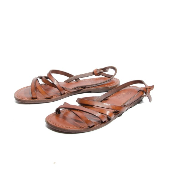 Brilliant Leather Handmade Brown Sandal, Toewrapper Sandal, Made In Greece, 100% Genuine Luxury Leather The Bottom Is Also Leather And The Sole Is Made Of Soft Thermoplastic Material Of Excellent Quality, Soft To Touch And Comfortable Feel In