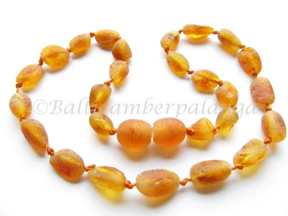 Raw Unpolished Baltic Amber Baby Teething Necklace Olive Form Cognac Color Beads