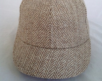 Herringbone wool cap with soft cotton sweatband, any size available.