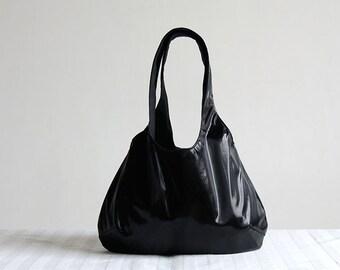 Metallic Black Hobo Tote Bag - Spring Fashion