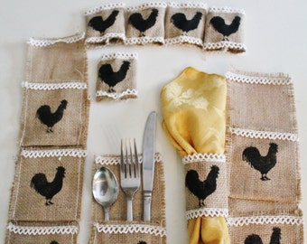 Rooster Silverware Holder and Napkin Rings Burlap...Country Home...Rooster Decor...Country Kitchen...Rooster Lover