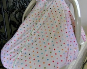 Cool 100% Cotton Baby Car Seat Canopy Cover Pink w/ Multicolored Polka Dots (fitted), FREE MONOGRAMMING