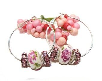 Pink Floral Ceramic Bead Hoop Earrings with Pink Rhinestone Rondelles