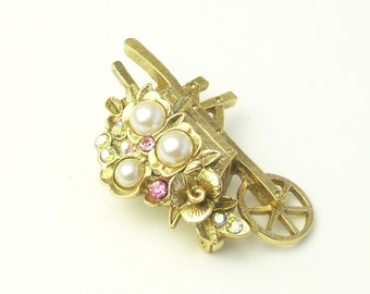 Vintage 1928 CO Faux Pearl Rhinestone Springtime Garden Wheelbarrow Costume Jewelry Brooch Pin on Etsy