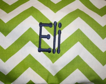 Personalized Lime Chevron and Minky Boppy Cover