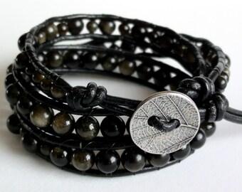 Golden Sheen Obsidian Leather Wrap Bracelet