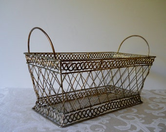 Vintage Brass Rectangle Basket with Handles