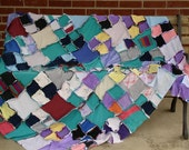 Scrappy rag quilt, repurposed t-shirts, soft blanket