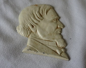 Antique Cast Iron Paper Weight with Likeness of Jefferson Davis