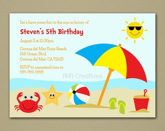 Beach Birthday Invitation - Personalized DIY Printable Digital File