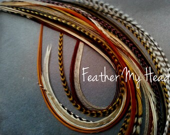 25 Pc. Feather Hair Extension Natural Grizzly Feathers 9-12 Inches Long SPECIAL ONLY 25 AVAILABLE