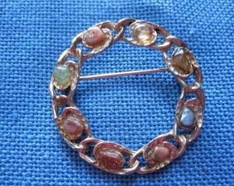 Vintage Colored Stones Circle Brooch