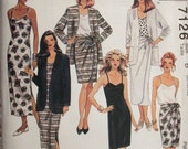 """McCalls Dress Pattern No 7126 UNCUT Vintage 1990s Size 8 10 12 Bust 31 1/2"""" 32 1/2"""" 34"""" Easy to Sew 2 Lengths Skirt Dress Top Unlined Jacket"""