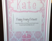 PERSONALIZED/Custom PICTURE frame MATTING Baby Girl First 1st Birthday damask- Matting only