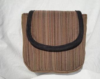 Spacious Brown Striped Pouch