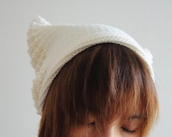 Cat Ear Beanie in Cream White, Crochet Hat, Women Hat, Cat Ears, Hand Crocheted Hat, Unique 2 Sides Hat, Winter Accessories